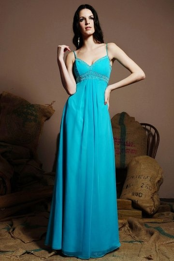 Simple Spaghetti Straps Chiffon A line Blue Long Bridesmaid Dress