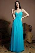 Simple Spaghetti Straps Chiffon A line Blue Long Bridesmaid Dress