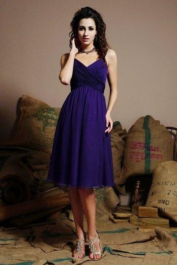 Ruching Straps Chiffon Knee Length Regency Bridesmaid Dress