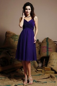 Hetton le Hole Chiffon Straps Knee Length Regency Bridesmaid Dress