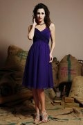 Ruching Straps Chiffon Knee Length Regency Formal Bridesmaid Dress