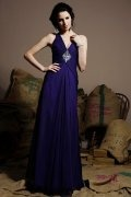 Beaded Ruching Straps Chiffon Long Regency Formal Bridesmaid Dress