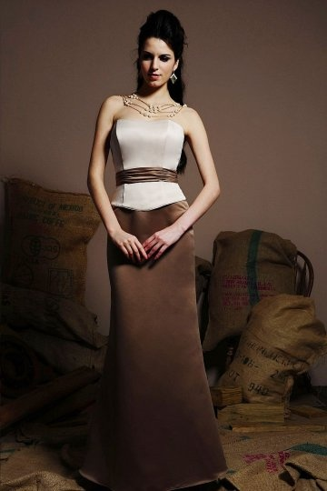Dressesmall Elegant Sash Strapless Satin Floor Length Formal Bridesmaid Dress