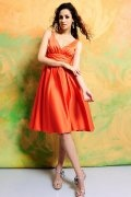 Ruched V neck Satin Orange Knee Length A line Formal Bridesmaid Dress