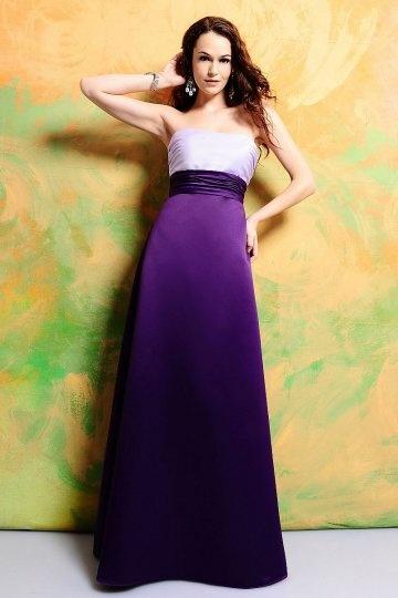 Sash Strapless Satin Purple Long A line Bridesmaid Dress