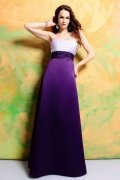 Sash Strapless Satin Purple Long A line Bridesmaid Dress