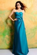Bow Sweetheart Satin A line Long Bridesmaid Dress