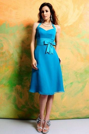 Dressesmall Bow Halter Chiffon Blue A line Knee Length Formal Bridesmaid Dress