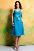 Bow Halter Chiffon Blue A line Knee Length Formal Bridesmaid Dress