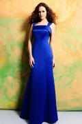 Simple Bow Straps Satin Floor Length Formal Bridesmaid Dress