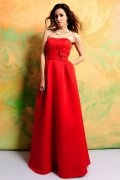 Ruched Strapless Satin Red A line Formal Bridesmaid Dress