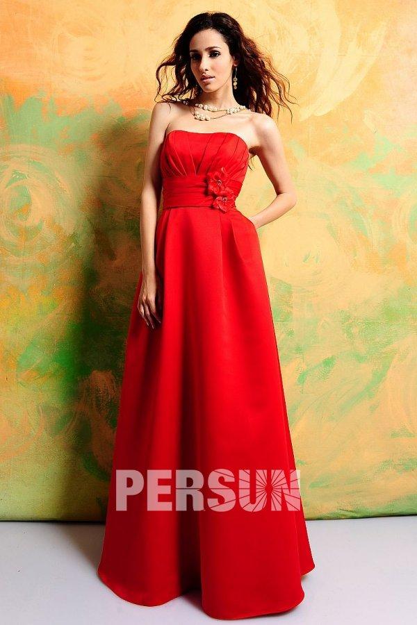 Robe demoiselle d 39 honneur bustier rouge empire longue sol for Robes de demoiselle d honneur turquoise pour mariage sur la plage