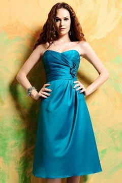 Esher Blue Ruched Appliques Bridesmaid Dress