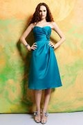 Pleated Sweetheart Satin Blue Knee Length A line Formal Bridesmaid Dress