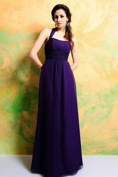 Eton Halter Ruched Empire Purple Bridesmaid Dress