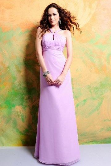 Chic lila A-Linie Bodenlanges Empire Abendkleider aus Chiffon Persun
