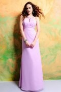 Ruched Straps Chiffon Floor Length A line Formal Bridesmaid Dress