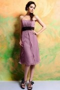 Sash Ruched Strapless Knee Length A line Formal Bridesmaid Dress