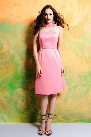Simple Strapless Pleated Knee Length Bridesmaid Dress