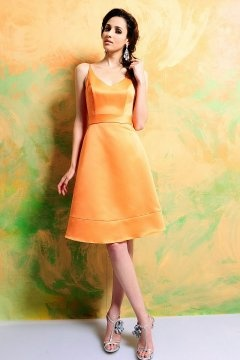 Eye Orange Sash Knee Length Bridesmaid Dress