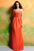 Bow Pleated Sweetheart Satin Orange Floor Length A line Formal Bridesmaid Dress