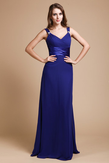 Sash V neck Chiffon  Royal Blue Floor Length A line Bridesmaid Dress