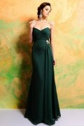 Green Strapless Sweetheart A Line Long Chiffon Bridesmaid Dress