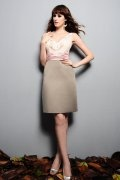 V-neck Ruffle Knee Length Column Satin Bridesmaid Dress