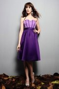 Pleated Sweetheart Satin Purple A line Formal Bridesmaid Dress