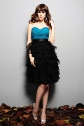 Ruffle Sweetheart Chiffon Blue&Black Knee Length Bridesmaid Dress