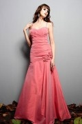 Pleated Applique Spaghetti Straps Taffeta Trumpet Long Bridesmaid Dress