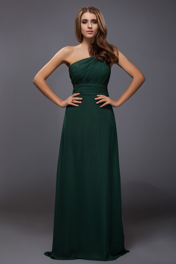 Dressesmall Ruched One Shoulder Chiffon A line Long Bridesmaid Dress