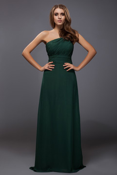 Ruched One Shoulder Chiffon A line Long Formal Bridesmaid Dress