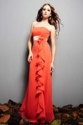 Ruffle Strapless Chiffon Orange A line Long Formal Bridesmaid Dress