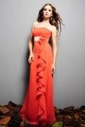 Ruffle Strapless Chiffon Orange A line Long Bridesmaid Dress