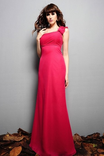 Dressesmall Ruched One Shoulder Chiffon Fuchsia A line Formal Bridesmaid Dress