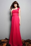 Ruched One Shoulder Chiffon Fuchsia A line Bridesmaid Dress