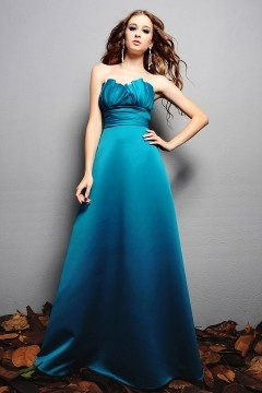 Pleated Sweetheart Satin A line Long Formal Bridesmaid Dress