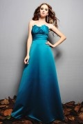 Pleated Sweetheart Satin A line Long Bridesmaid Dress