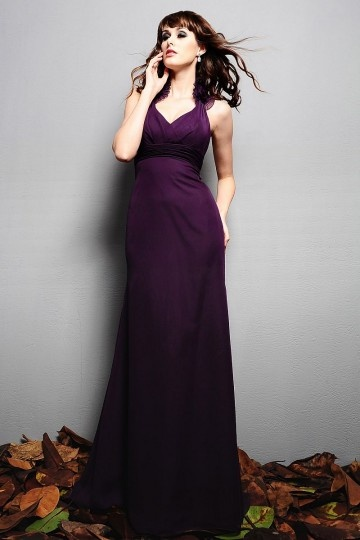 Ruching Halter Chiffon Trumpet Long Bridesmaid Dress