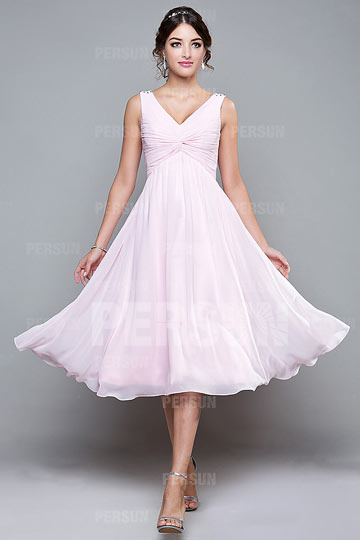 Ruched V neck Chiffon A line Tea Length Bridesmaid Dress