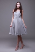 Pleated Strapless Chiffon Gray A Line Bridesmaid Dress
