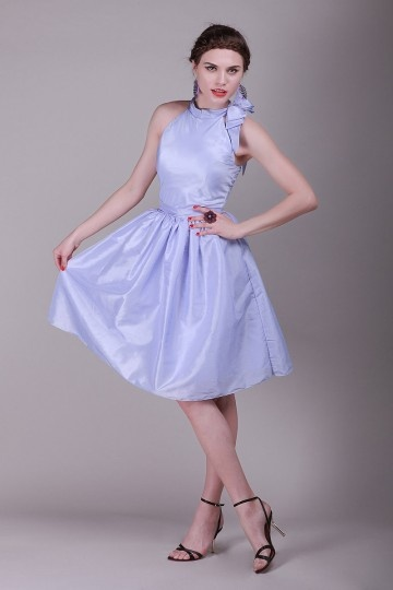 Bow Round Neck Taffeta A line Knee Length Bridesmaid Dress