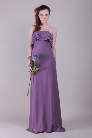 Ruffle Strapless Chiffon Purple A line Bridesmaid Dress