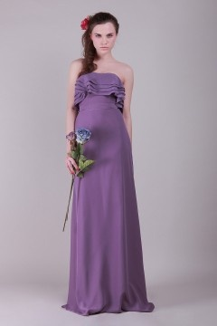 Marlborough Chiffon Strapless Ruffle Purple Long Bridesmaid Gown