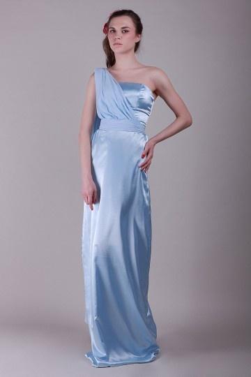 Sash One Shoulder Satin Sheath Bridesmaid Dress