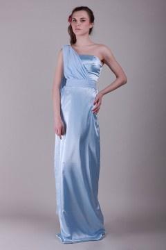 Marston Moretaine Satin One Shoulder Sash Long Sheath Bridesmaid Gown