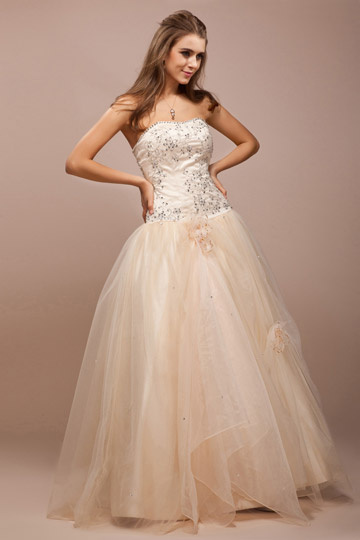 Dressesmall Sweetheart Applique Flower Tulle Ball Gown Prom Dress