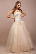Sweetheart Applique Flower Tulle Ball Gown Prom Dress