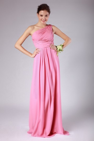 Dressesmall Ruched One Shoulder Chiffon A line Formal Bridesmaid Dress